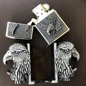 Eagle belt buckle removable cowboy men silver